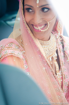 Beautiful vintage Sikh bride in pink lehnga with pearl naath and pearl jewelry set | Beauty by Amplified Soul http://www.amplifiedsoul.ca/ | Photography by Kumari Photo | Cinema http://kumariphotoanddesign.com/