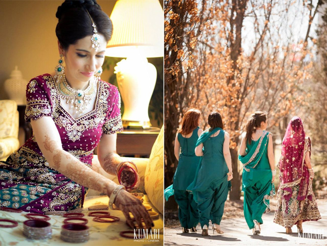 Pink and green Indian bride and bridesmaids | Planning: http://aroraevents.com/ | Photography: http://kumariphotoanddesign.com/