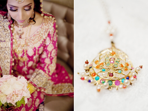 Beautiful traditional Pakistani bride in pink lehnga with multicolored tikka jewelry | Ovyian Photography http://www.ovyian.com/ | Rubies and Ribbon