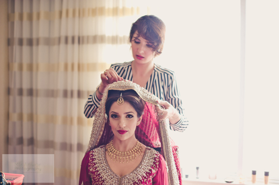 Gorgeous Pakistani bride in red lehnga by http://atelierkarma.com/ | Makeup by http://summerastudio.com/ | Photography by www.miranwar.com/ | Rubies and Ribbon Blog